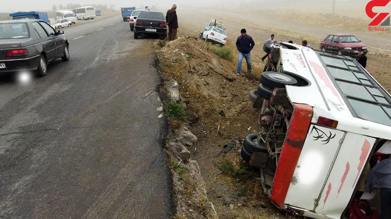 تصادف مینی بوس با 18 مجروح در اردبیل / صبح امروز رخ داد + عکس