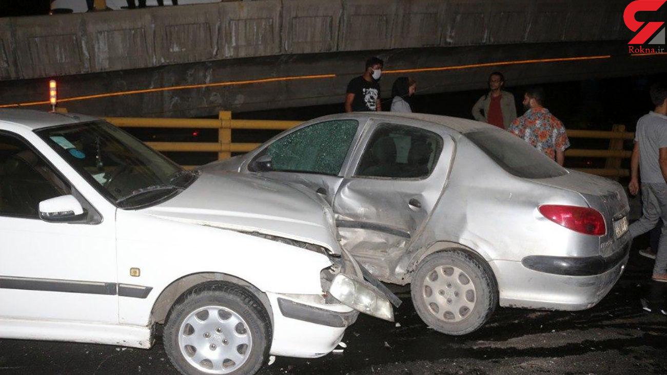 فیلم وحشتناک از تصادف زنجیره ای نیمه شب در شرق تهران