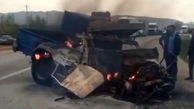 فیلم لحظه آتش گرفتن نیسان در تصادف با اتوبوس/ راننده سوخت