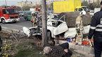 وانت مرد تهرانی در تصادف با درخت پوکید + عکس ها