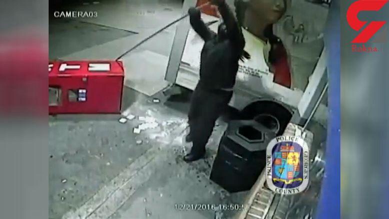 لحظه سرقت دستگاه خودپرداز توسط  دزدان +فیلم
