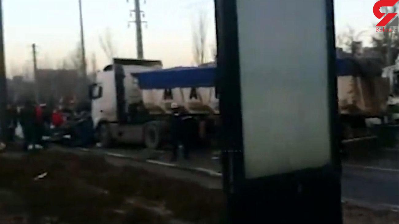 فیلم تصادف زنجیرهای در  تبریز / 7 نفر مصدوم شدند