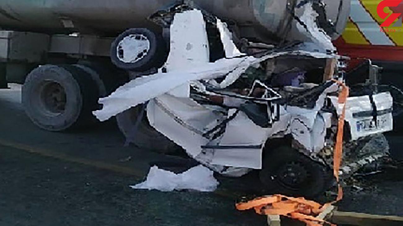5 کشته در پراید پوکیده / بازداشت 2 راننده کامیون در بیرجند + عکس