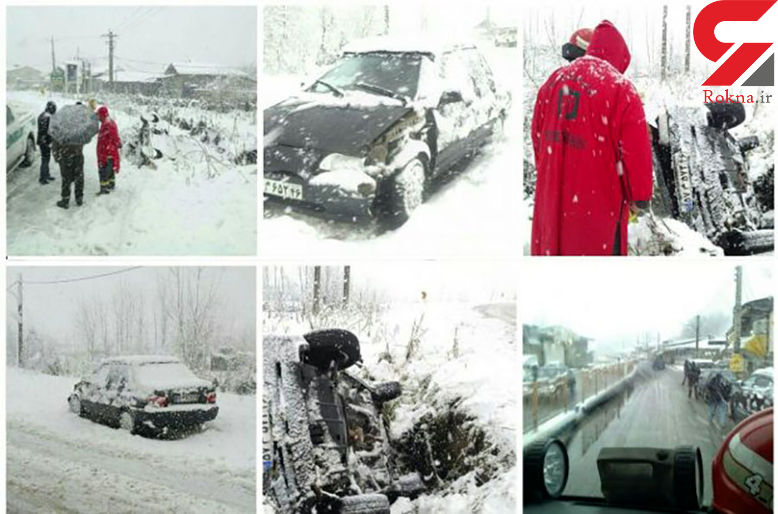 تصاویر لحظه گرفتاری یک راننده در برف رشت + عکس