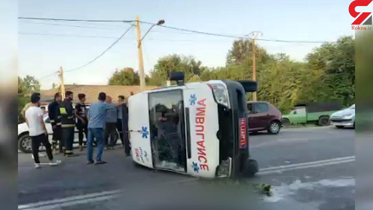 فیلم تلخ از صحنه تصادف آمبولانس اورژانس / در گیلان رخ داد